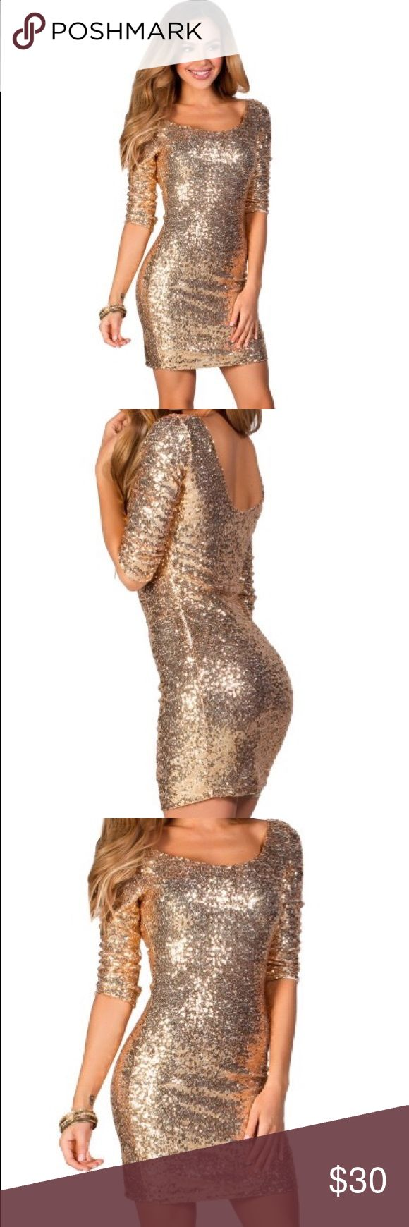 Gold sequin 3/4 sleeve NYE Dress It's never too early to be thinking about an event! I worn this one time! On NYE in New York to watch the ball drop! Such a magical night, and I felt amazing in the dress. Paired it with black legging and black short booties. But would be fabulous with some nude heels!  it is a size large, but I'm a comfortable medium Dresses Midi