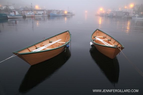 yellow boatreflection calm water petty harbour by DreamsandNotions