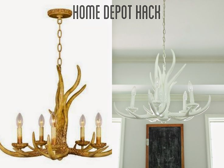 from the natou0027s: home depot antler chandelier hack