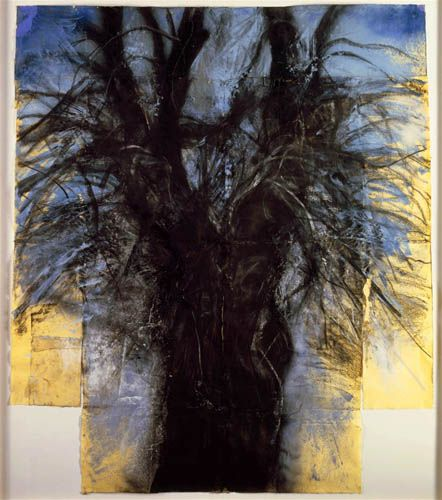 "Jim Dine, Tree (The Kimono), 1980  charcoal, pastel, and acrylic on yellow handmade paper  ""Drawings of Jim Dine""  National Gallery of Art"
