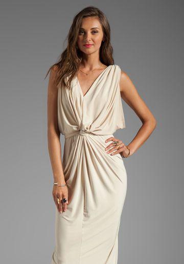 T-BAGS LOSANGELES Drape Sleeve Maxi Dress in Cream