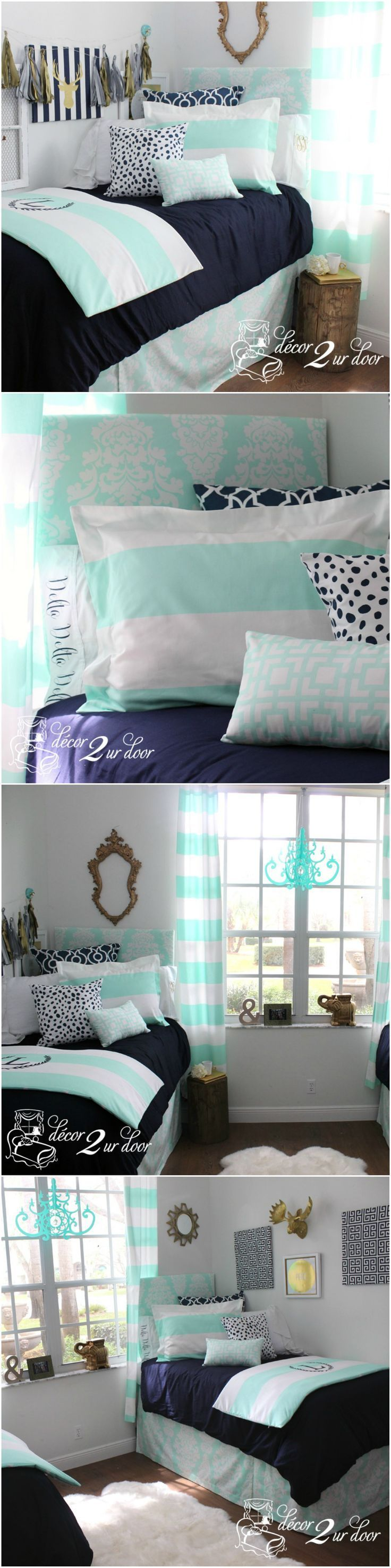 This dorm room totally MINT to be! Get it?! Our brand new mint wide stripe is complimented by bold navy pattern and navy Dalmatian print to create the perfect custom dorm bedding. It can't get much better than this! We adore this new damask inspired pattern in soothing mint and navy.