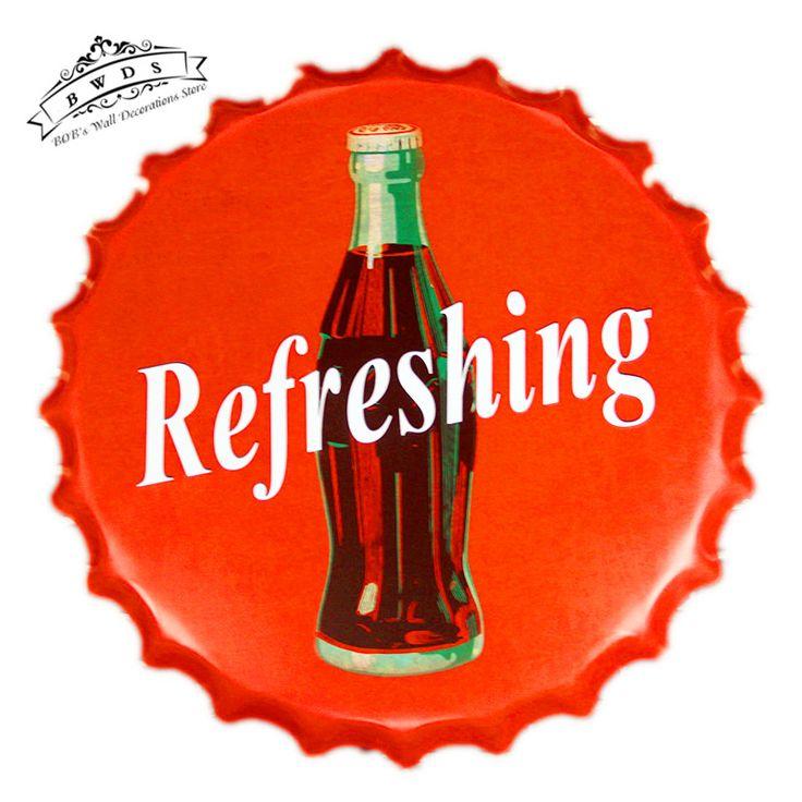 Rinfrescante Coke Metallo Rotonda Tin segni Birra Tappo di Bottiglia Casa Ufficio Ristorante Bar Cafe Decorazione Della Parete Della Cucina <40 cm, RD-82>(China (Mainland))