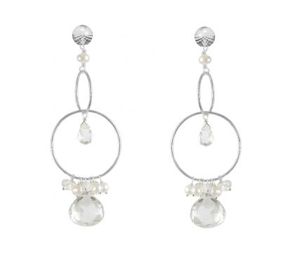 Sterling silver statement earrings with combination of two hoops, Rock Crystal faceted heart shape drops, white cultured fresh water pearls and Moonstone beads.  http://mounir.co.uk/collections/sparkling_nights/4682_rock_crystal_statement_earrings
