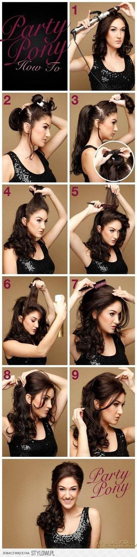 Step by step: Party Pony bouffant ponytail@jessicaw9900 , you are on hair duty the weekend we have our nerf gun war with @Margaret Martinez Smith. You should so do this to our hair!
