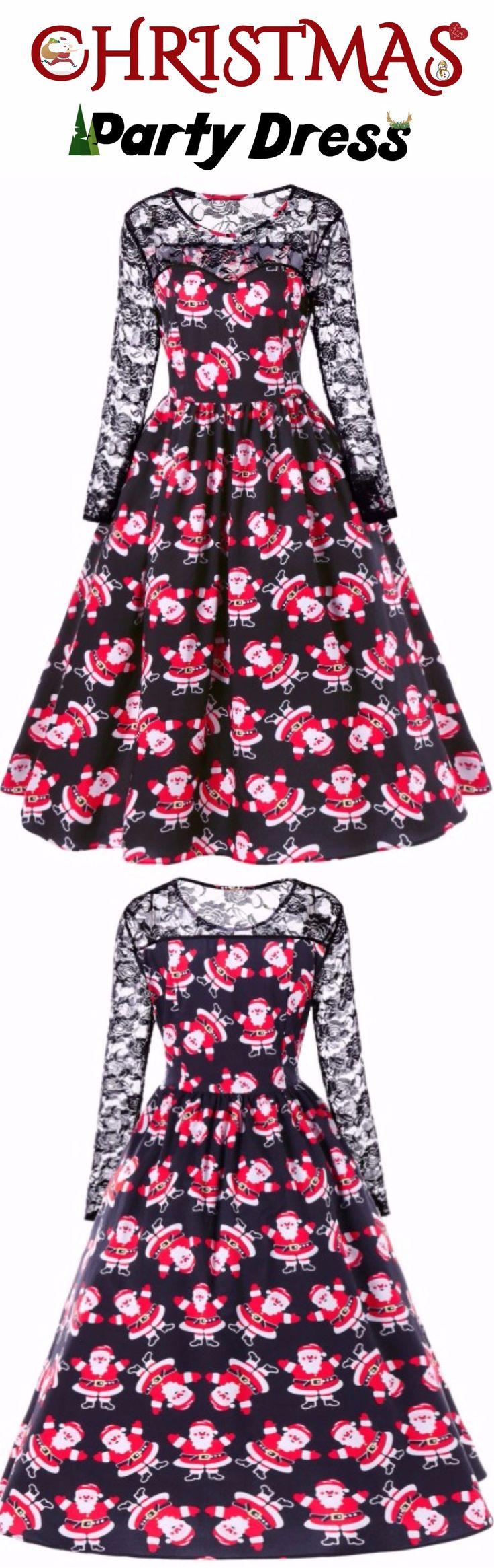 Christmas Party Dress | Only $15.51 | Father Christmas Print Lace Panel Dress| Sammydress.com