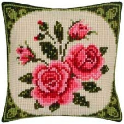 Floral - Pink Roses With Border Cushion Front Cross Stitch Kit by ...