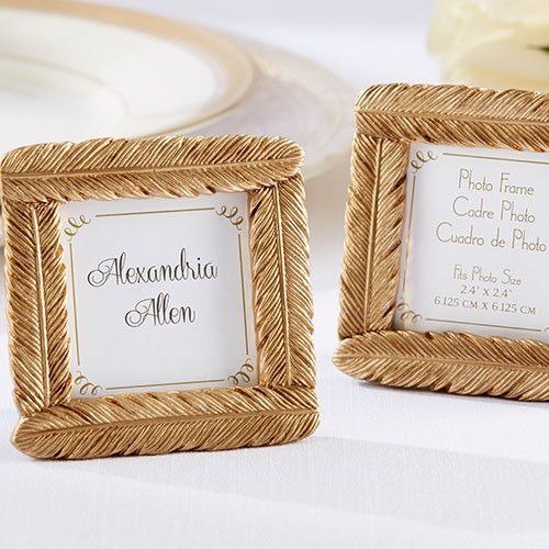 Technically for weddings/table setting, these gold feather frames are so affordable and would look really cute in a cluster with itty bitty abstracts of photos in them
