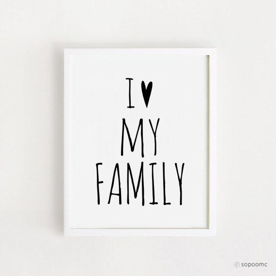 Printable I Love My Family Quotes Poster Sign By PrintableSopoomc Living Room Wall ArtGray