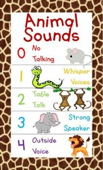 Noise Level Chart (0-4) for classrooms. Perfect for the Animal Themed/Jungle Themed/Safari Themed classroom!