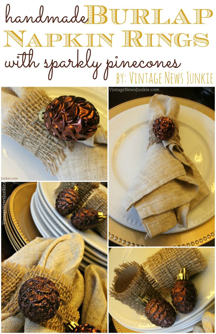 Handmade Burlap Napkin Rings with Sparkly Pinecones by Vintage News Junkie