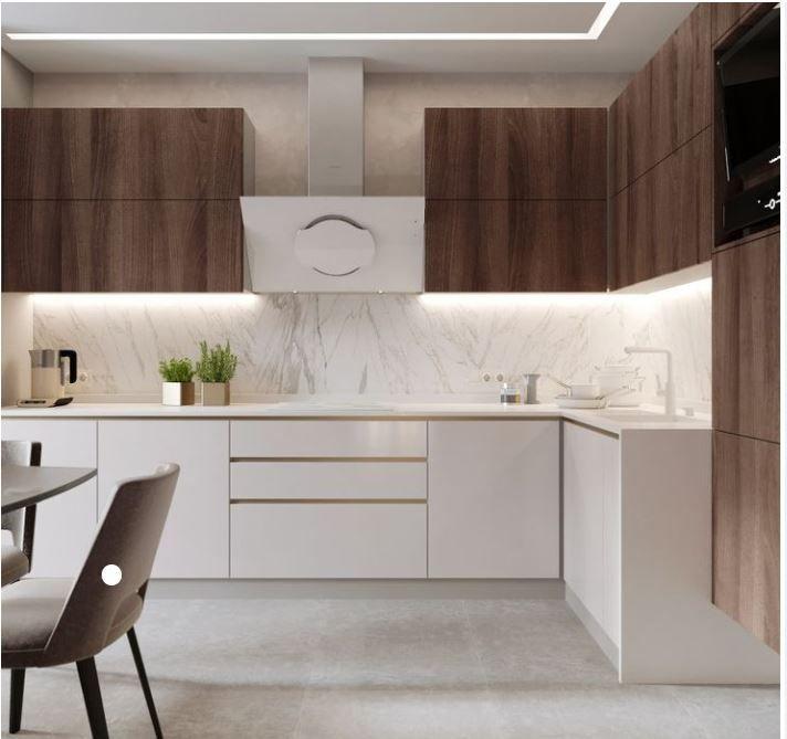 Blanca Y Marron Diseno Muebles De Cocina Diseno De Cocina Comedor Cocinas De Casas Pequenas