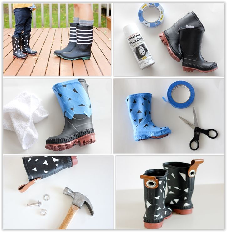 Spray Painting Rubber Boots ... she had been experimenting with rubberized spray paint for another project & wondered if it could work with the boots. It is normally used with cars, but can be used for crafting as well .................... #DIY #rubberboots #boots #spraypaint #RustoleumFlexiDip #painterstape #leather #straps #grommets #howto #decor #crafts