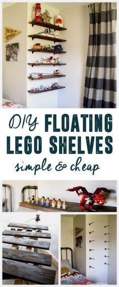 DIY Floating Lego Shelves, Lego Storage, Lego Shelves, Lego Display, www.BrightGreenDoor.com