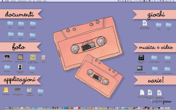 Wall Paper Organizer custom desktop organizer /// fox pow /// digital pc wallpaper