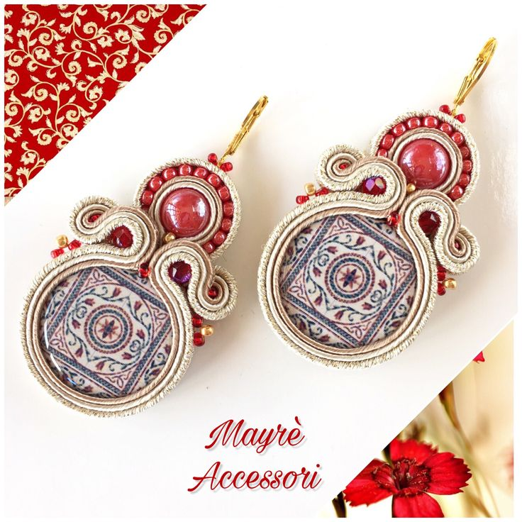 Un preferito personale dal mio negozio Etsy https://www.etsy.com/it/listing/562179663/pendant-earrings-red-beige-soutache