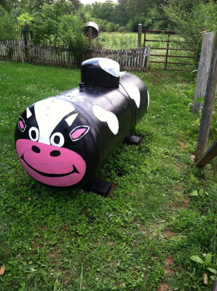 Painted propane tank cow