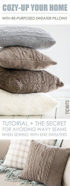 Re-Purposed Sweater Pillows - Tidbits                                                                                                                                                                                 More