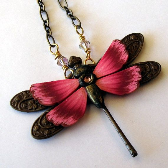 Dragonfly Pendant Necklace $24.00 #jewelry #necklace #polymer_clay #pendant #art_nouveau #dragonfly #one_of_a_kind #claybykim #kim_detmers #pink #brass #polymerclay #brass #crystals