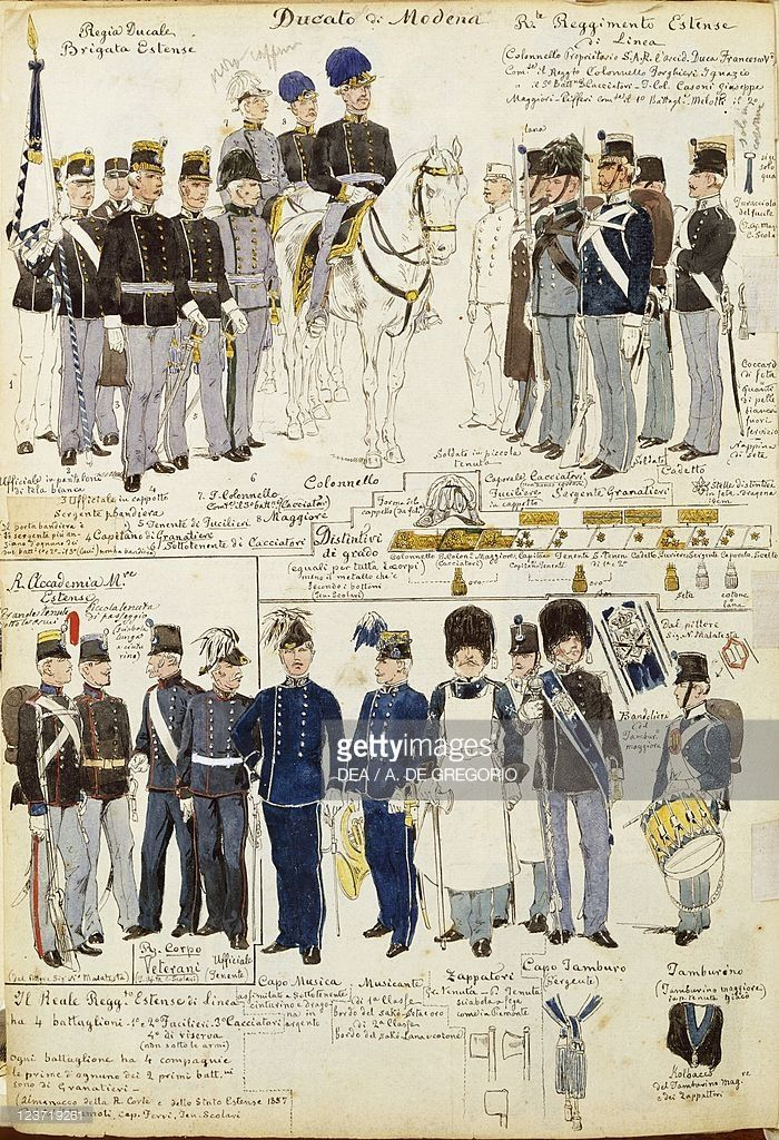 Foto stock : Various uniforms of Duchy of Modena by Quinto Cenni, color plate, 1859-1860