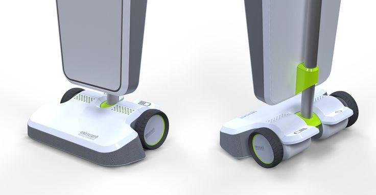 La base è dotata di 4 ruote, 2 anteriori carenate, e 2 posteriori scoperte, ed è cinta da un paraurti in gomma che funge da paraurti per proteggerla da urti accidentali. Nella parte superiore riporta le griglie di aerazione per il raffreddamento del motore. Posteriormente sono presenti il pulsante a pedale per l'accensione e lo spegnimento e lo sportello del vano batterie. Il corpo sacco è costituito da un telaio interno rigido che fa da supporto per il rivestimento in tessuto.