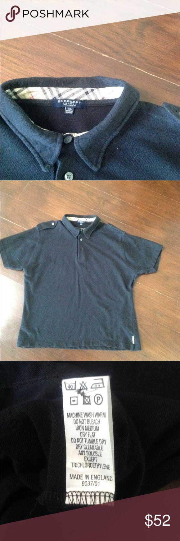 Burberry Men's Navy Blue Polo Shirt Burberry  navy blue short sleeve polo shirt size L made in England Burberry Shirts Polos