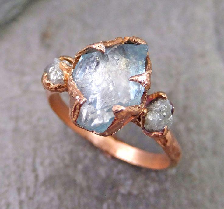 Raw Uncut Aquamarine Diamond Rose Gold Engagement Ring Wedding Ring Custom One Of a Kind Gemstone Ring Three stone Ring