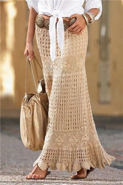 pollera crochet beige