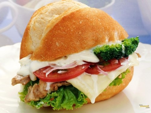 grilled chicken and veggies on ciabatta bread