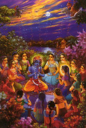 'Krishna Ras Lila' - Open a window on the spiritual-world and let in a breath of fresh air, thus infusing life with spiritual energy. The sweet scent it bears is of a great culture, steeped in wisdom and philosophy, with dance and music both powerful and up-lifting, transporting us to a place of true delight. It's time to refresh the soul and focus on the joys of a pure and simple life, to laugh and celebrate - as the image [of RasLila] here shows. -- http://www.gauranga.org/ras_lila.htm#