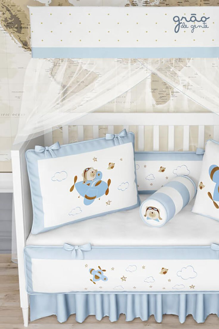 3da2bcc0a A decoração do Quarto de Bebê Urso Aviador Azul Bebê é apaixonante! O tema  traz