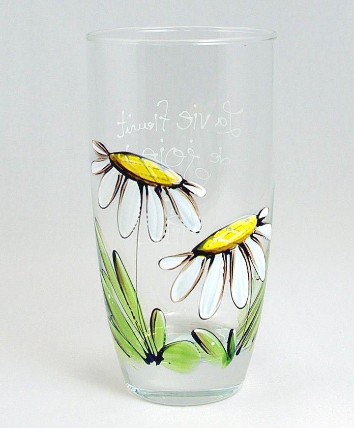 Verre à eau (510 ml) : : Marguerites   *** Produit peint à la main.                                                                                                                                                                                 Plus