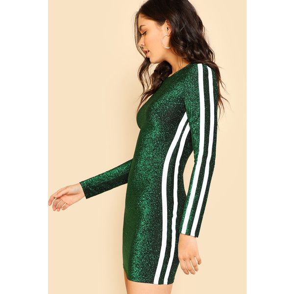 SheIn(sheinside) Striped Side Form Fitting Glitter Dress (62 PEN) ❤ liked on Polyvore featuring dresses, party dresses, glitter bodycon dress, long sleeve party dresses, long sleeve glitter dress and long-sleeve mini dress