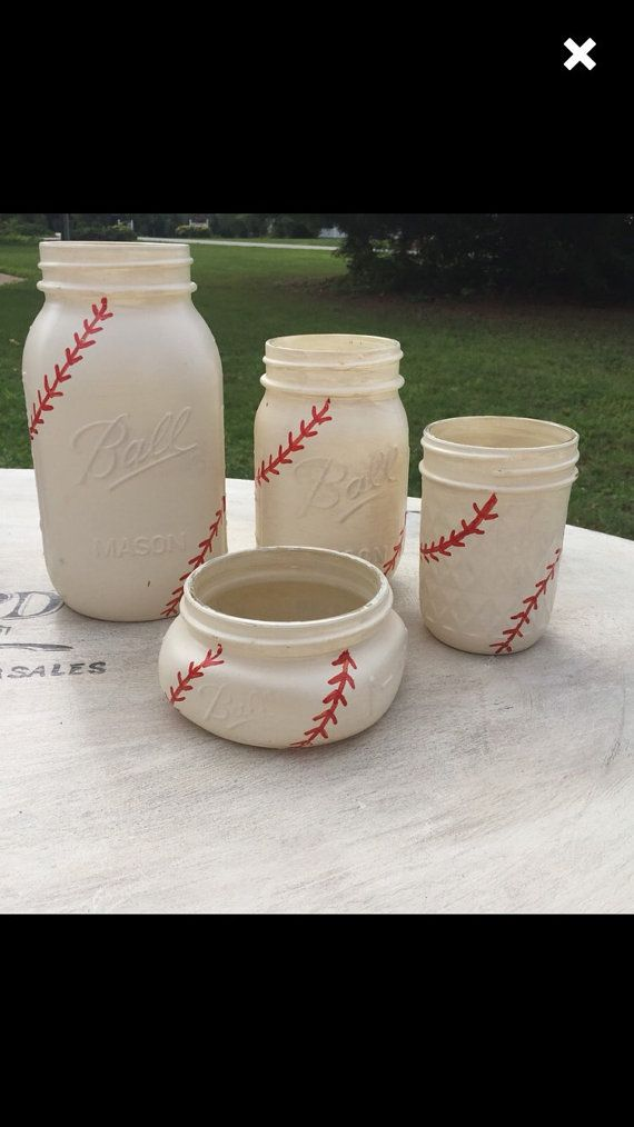 These Baseball Mason Jars are selling like hot cakes! So, per your requests, these little gems are now available for a complete bathroom set!