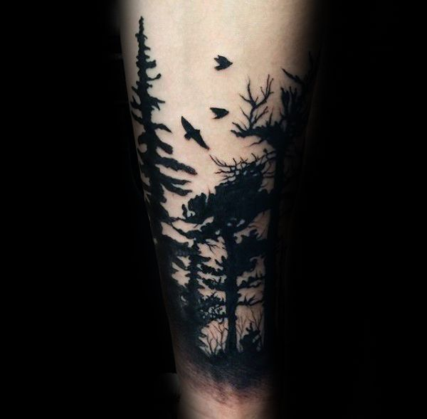 Solid Black Ink Guys Forest Tattoo Designs