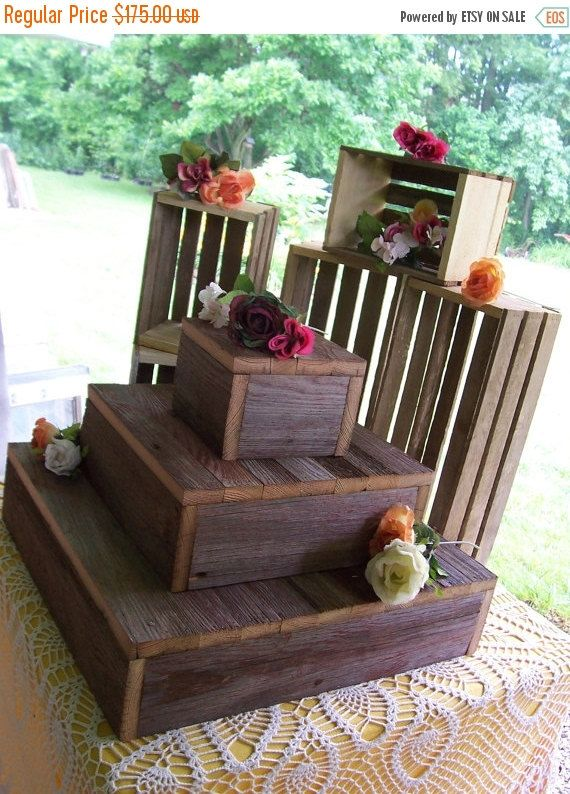 ON SALE Cupcake stand crates BUNDLE rustic by primitivearts