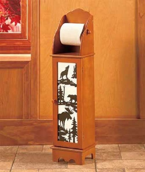 Rustic Country Cabin Lodge Bathroom Bath Toilet Paper Roll Storage Cabinet Decor #Unbranded