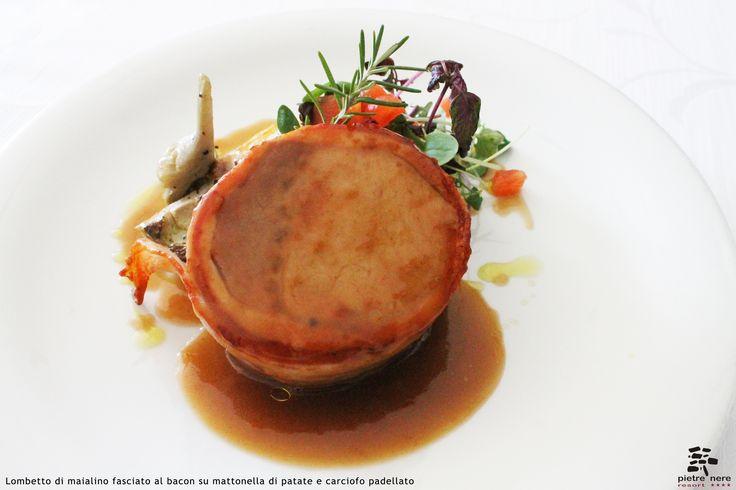 Lombetto di maialino fasciato al bacon su mattonella di patate e carciofo padellato - Spirito Mediterraneo Modica