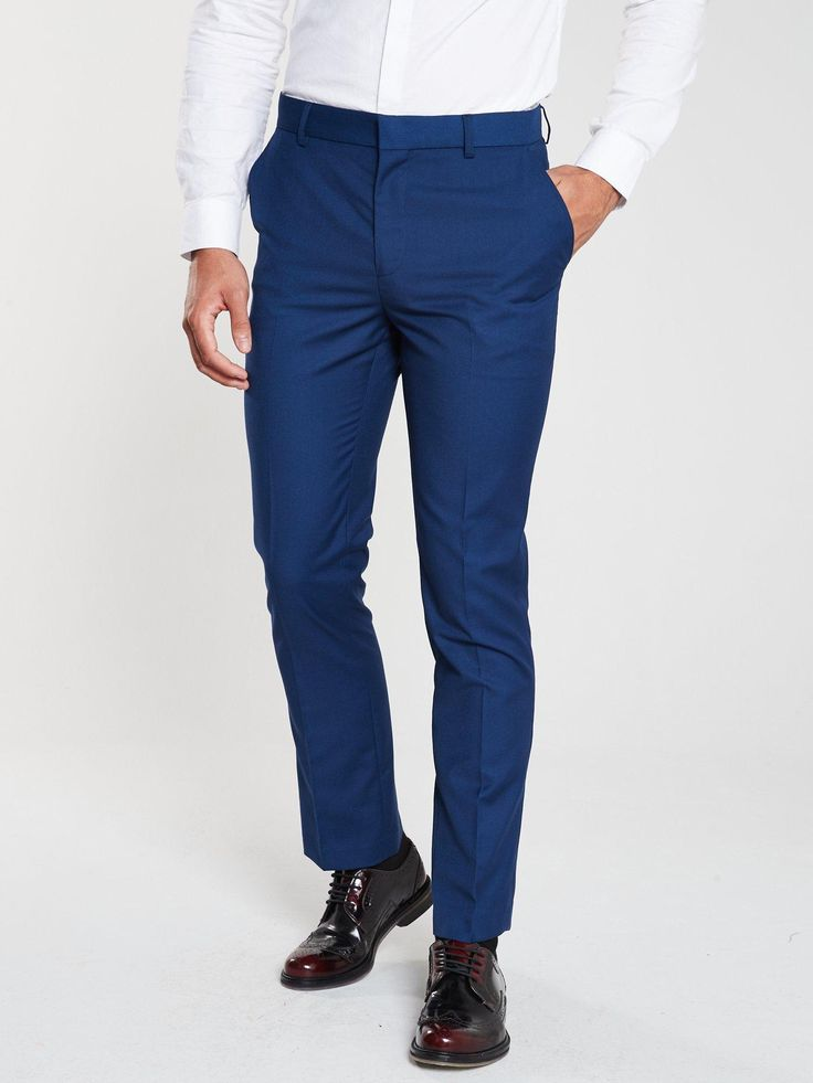 V By Very Pv Stretch Regular Suit Trousers – Blue