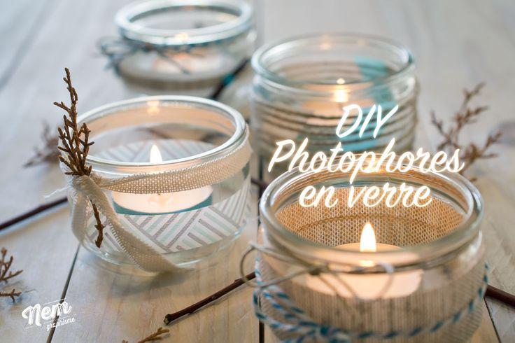 On va customiser des pots de yaourts en verre pour faire des photophores ambiance nature, lin, bois, et une touche de masking tape coloré.