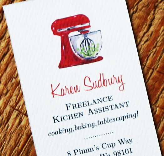 Business Card with Bakery kitchen Mixer  by nancynikkodesign, $26.50. Would change this and use as a calling card, not a business card.