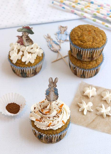 Peter Rabbit Carrot Cake Cupcakes | gluten free recipe on FamilyFreshCooking.com
