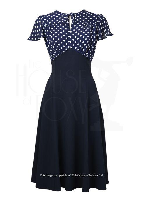 40s Tea Dress - Navy Polka