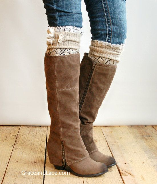 The Lacey Lou Natural Open-work Leg Warmers with ivory knit lace trim