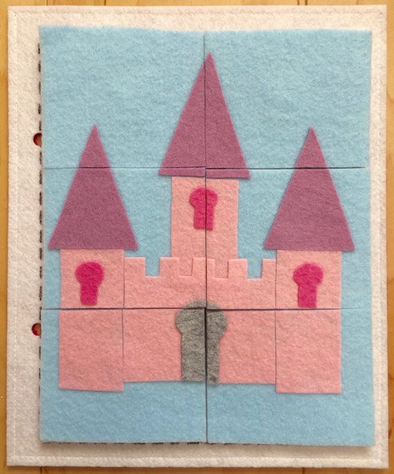 6 Piece Princess Castle Puzzle Quiet Book Page - Quiet Book