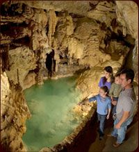 Natural Bridge Caverns in Texas.  There is also a drive through safari, Natural Bridge Ranch, just up the road.