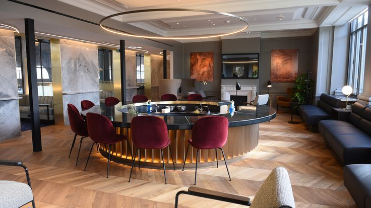London studio Softroom has designed a new Eurostar lounge for business-class passengers in Paris' Gare du Nord, featuring a circular cocktail bar and plush upholstery.