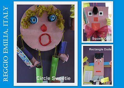 Shape-people made from up-cycled materials in Reggio Italy