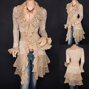 Trendy Beige Ruffled Floral Applique Tiered Hem Cardigan Long Sweater Jacket
