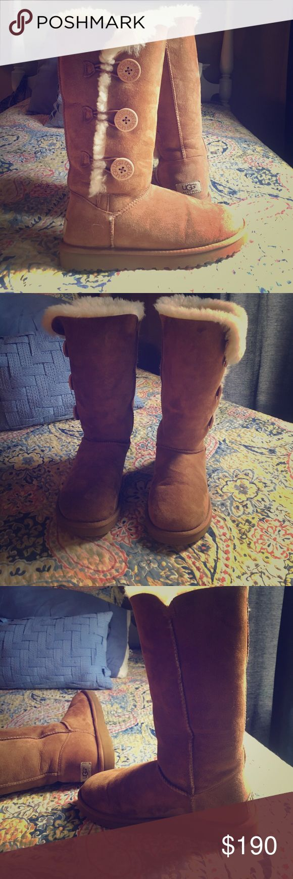 tall ugg boots 3 buttons (all on) ugg symbol on back very comfortable UGG Shoes Winter & Rain Boots